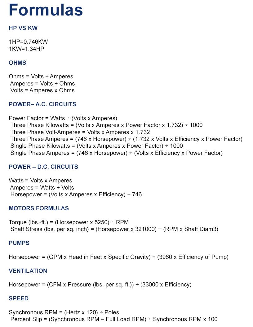 Useful formulas - MEP Inc
